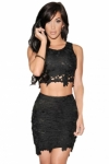 Black-Graceful-Sexy-Two-piece-Lace-Skirt-Set-LC21141-2